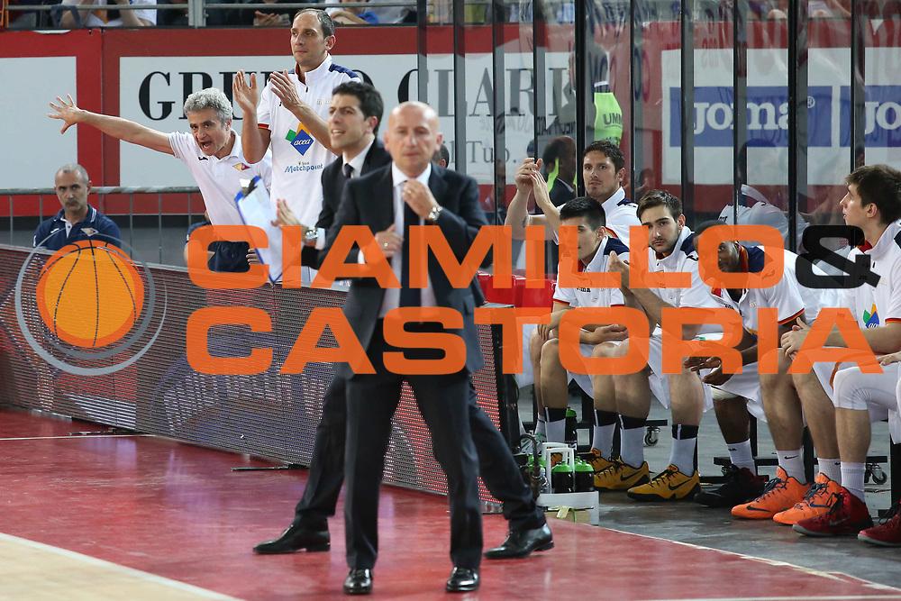 DESCRIZIONE : Roma semifinale gara 4 playoff 2013-2014 Acea Roma Montepaschi Siena<br /> GIOCATORE : staff panchina team<br /> CATEGORIA : esultanza curiosit&agrave;<br /> SQUADRA : Acea Roma<br /> EVENTO : semifinale gara 4 playoff 2013-2014<br /> GARA : Acea Roma Montepaschi Siena<br /> DATA : 06/06/2014<br /> SPORT : Pallacanestro <br /> AUTORE : Agenzia Ciamillo-Castoria/M.Simoni<br /> Galleria : playoff 2013-2014<br /> Fotonotizia : Roma semifinale gara 4 playoff 2013-2014 Acea Roma Montepaschi Siena<br /> Predefinita :