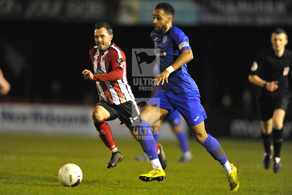 TELFORD COPYRIGHT MIKE SHERIDAN Brendon Daniels of Telford during the Vanarama Conference North fixture between AFC Telford United and Altrincham at The J Davidson Scrap Stadium (Moss lane) on Tuesday, February 4, 2020.<br /> <br /> Picture credit: Mike Sheridan/Ultrapress<br /> <br /> MS201920-045