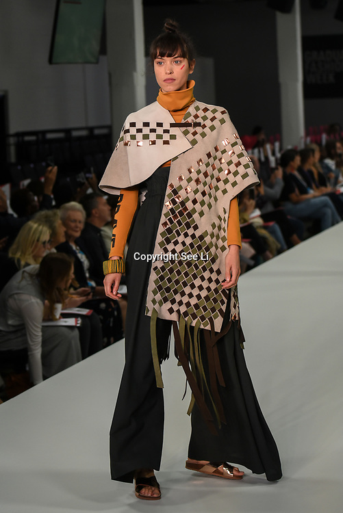 Designer Lorraine Makumbe showcases it lastest collection at the Graduate Fashion Week 2018, 4 June 4 2018 at Truman Brewery, London, UK.