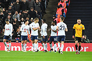 Tottenham Hotspur players celebrate the Own-Goal by Newport County Defender Dan Butler (3) (1-0) during the The FA Cup 4th round replay match between Tottenham Hotspur and Newport County at Wembley Stadium, London, England on 7 February 2018. Picture by Stephen Wright.