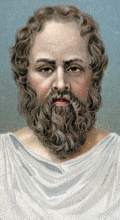 Socrates (439-399 BC) Ancient Greek philosopher. Early 20th century chromolithograph