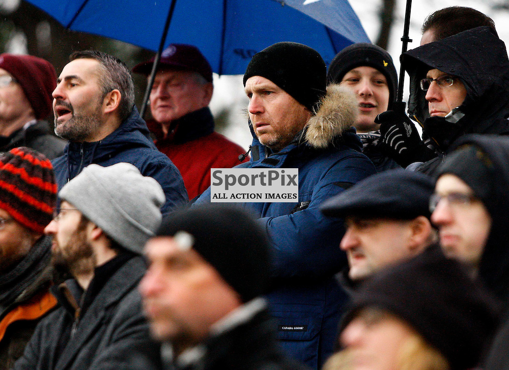 Ryder Cup star Stephen Gallacher watches the match<br /> During the William Hill Scottish Cup match at Prestonfield Linlithgow