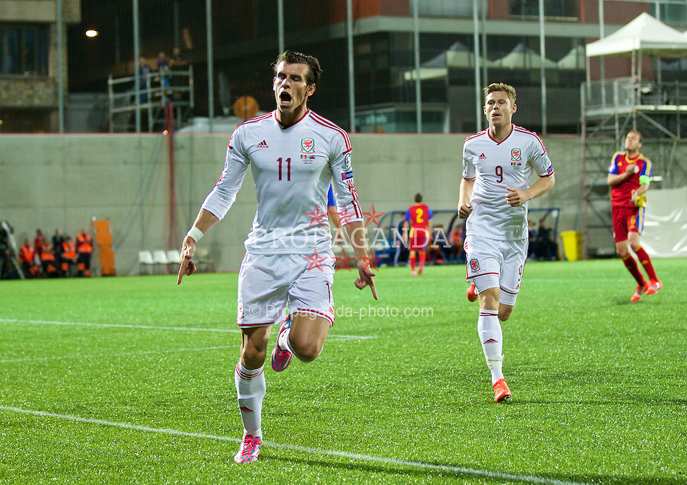 ANDORRA LA VELLA, ANDORRA - Tuesday, September 9, 2014: Wales' Gareth Bale celebrates scoring the first goal against Andorra to level the score 1-1 during the opening UEFA Euro 2016 qualifying match at the Camp d'Esports del M.I. Consell General. (Pic by David Rawcliffe/Propaganda)
