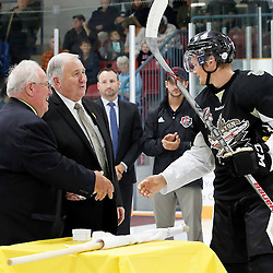 TRENTON, ON - SEP 8:  Mac Lewis #91 of the Trenton Golden Hawks receives his Dudley Hewitt Cup ring during a special pregame ceremony between the Newmarket Hurricanes and Trenton Golden Hawks on September 8, 2016 in Trenton, Ontario. (Photo by Amy Deroche/OJHL Images)