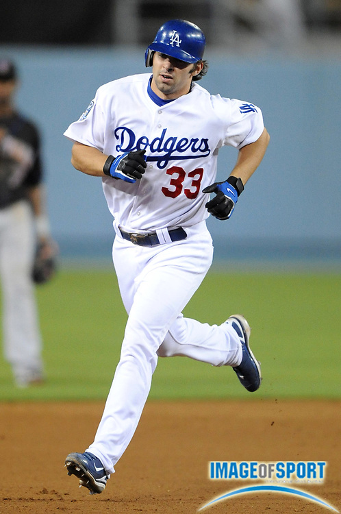 May 5, 2008; Los Angeles, CA, USA; Los Angeles Dodgers third baseman Blake DeWitt (33) rounds the bases after hitting his first career home run in the fifth inning against the New York Mets at Dodger Stadium. The Dodgers defeated the Mets 5-1.