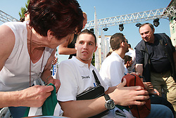 Jaka Lakovic and Dragisa Drobnjak at press conference and after time with fans of Slovenian basketball National Team before departure to Athens for Olympic qualifications, on July 12, 2008, at Presernov trg, in Ljubljana, Slovenia. (Photo by Vid Ponikvar / Sportal Images)