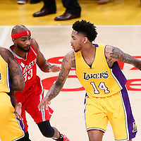 26 October 2016: Los Angeles Lakers forward Brandon Ingram (14) drives past Houston Rockets forward Corey Brewer (33) on a screen set by Los Angeles Lakers center Tarik Black (28) during the Los Angeles Lakers 120-114 victory over the Houston Rockets, at the Staples Center, Los Angeles, California, USA.