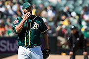 Oakland Athletics relief pitcher Yusmeiro Petit (36) pitches against the San Francisco Giants at Oakland Coliseum in Oakland, California, on March 25, 2018. (Stan Olszewski/Special to S.F. Examiner)