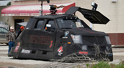 AccuWeather Meteorologist Reed Timmer with his Dominator-3 tornado chase car out in the field area of Booker Texas Thursday May 23,2019. Severe thunder and tornado storms are forecast for the rest of the week in tornado alley areas. . Photo by Gene Blevins/ZumaPress (Credit Image: © Gene Blevins/ZUMA Wire)