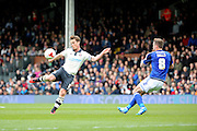 Fulham midfielder and captain, Scott Parker (08) with a volley and shot at goal during the Sky Bet Championship match between Fulham and Cardiff City at Craven Cottage, London, England on 9 April 2016. Photo by Matthew Redman.