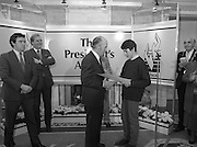 28/10/1985<br /> 10/28/1985<br /> 28 October 1985<br /> Launch of Gaisce The Presidents Award at Aras an Uachtarain. President Dr. Patrick Hillery launched the new national youth award scheme to be the nations highest award to Irish young people aged 15-25. Picture shows Gareth Armstrong (left) presenting his pledge to President Hillery. Mr John Murphy, Executive Director of the award in centre and Dr. Tony O'Reilly (2nd left) also feature in the image.