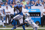 September 11, 2016: Indianapolis Colts wide receiver Phillip Dorsett (15) catches a deep pass over Detroit Lions cornerback Darius Slay (23) during the week 1 NFL game between the Detroit Lions and Indianapolis Colts at Lucas Oil Stadium in Indianapolis, IN.  (Photo by Zach Bolinger/Icon Sportswire)