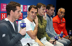 Roger Federer (second left) during the press conference ahead of the Andy Murray Live Event at the SSE Hydro, Glasgow.