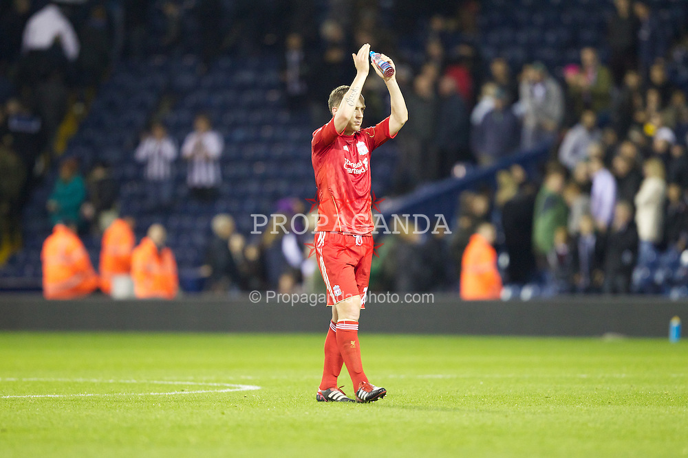 WEST BROMWICH, ENGLAND - Saturday, October 29, 2011: Liverpool Charlie Adam celebrates his side's 2-0 win against West Bromwich Albion during the Premiership match at The Hawthorns. (Pic by Vegard Grott/Propaganda)