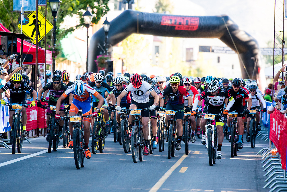 The Capitol 50 riders take off from the start on Saturday morning.