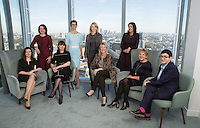 Sitting from left to right: Catherine Davidson (Morgan Stanley), Nadia Swann (Linklaters), Marisa Drew (Credit Suisse), Nicolette Moser (Allianz), Robyn Grew (Man group). Standing from left to right: Joanna Cound (Blackrock), Joanne Segars (PLSA), Katie Cusack (Credit Suisse), Tina Fordham (Citigroup). Photographed on November 2nd 2016 in the News Building, London bridge, London.