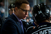 KELOWNA, BC - JANUARY 3:  Victoria Royals' head coach Dan Price stands on the bench against the Kelowna Rockets at Prospera Place on January 3, 2020 in Kelowna, Canada. (Photo by Marissa Baecker/Shoot the Breeze)
