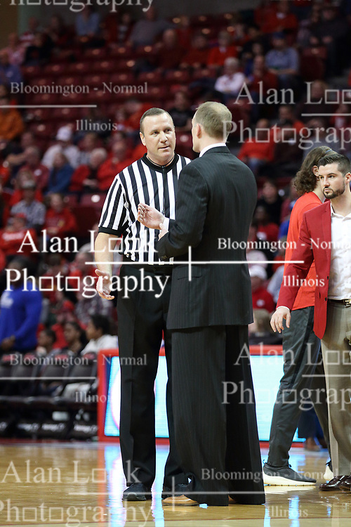 21 February 2018:  Brad Ferrie and Dan Muller during a College mens basketball game between the Drake Bulldogs and Illinois State Redbirds in Redbird Arena, Normal IL