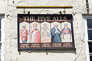 The Five Alls pub sign, Chepstow, Monmouthshire, Wales, UK