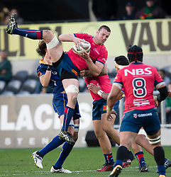 Tasman's Alex Ainley, left, takes a high ball against Otago in the Mitre 10 Cup rugby match, Forsyth Barr Stadium, Dunedin, New Zealand, Sept. 16 2017.  Credit:SNPA / Adam Binns ** NO ARCHIVING**