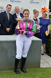 CAMILLA HENDERSON winner of the Magnolia Cup at the Qatar Goodwood Festival - Ladies Day held at Goodwood Racecourse, West Sussex on 30th July 2015.