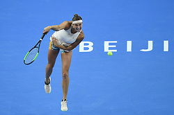 BEIJING , Oct. 2, 2018  Aryna Sabalenka of Belarus serves during the women's singles second round match against Garbine Muguruza of Spain at China Open tennis tournament in Beijing, China, Oct. 2, 2018. Aryna Sabalenka won 2-0. (Credit Image: © Ju Huanzong/Xinhua via ZUMA Wire)