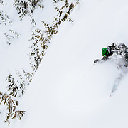 Tyler Hatcher gets some face shots in the backcountry near Mount Baker Ski Area.