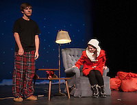 "Lendall (Maccoy Bourgeois) is not sure how to respond when approached by Gayle (Delaney Andrews) in the scene ""Getting it Back""  during dress rehearsal for ""Almost, Maine"" with Gilford High School's Performing Arts Tuesday afternoon.  (Karen Bobotas/for the Laconia Daily Sun)"