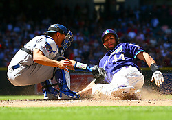 May 3, 2018 - Phoenix, AZ, U.S. - PHOENIX, AZ - MAY 03: Arizona Diamondbacks first baseman Paul Goldschmidt (44) slides into home plate during the MLB baseball game between the Arizona Diamondbacks and the Los Angeles Dodgers on May 3, 2018 at Chase Field in Phoenix, AZ (Photo by Adam Bow/Icon Sportswire) (Credit Image: © Adam Bow/Icon SMI via ZUMA Press)