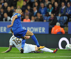 LEICESTER ISLAM SLIMANI TRIES A SHOT ON LEEDS GOAL,  Leicester City v Leeds United EFL League Carabao Cup  Fourth Round, King Power Stadium Tuesday 24th October 2017, Score 2-1, Photo:Mike Capps