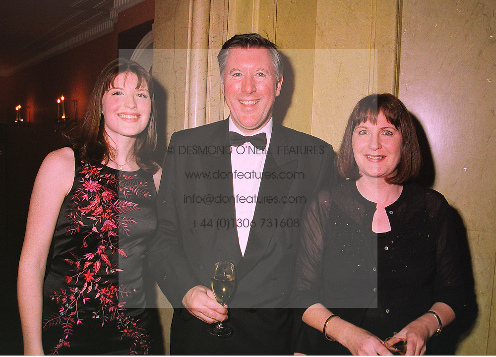Left to right, MISS LAURA McENTEE and her parents MR & MRS JOHN McENTEE, he is the journalist, at a dinner in London on 5th November 1998.MLR 25