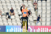 Paige Scholfield of Southern Vipers bowling during the Women's Cricket Super League match between Southern Vipers and Yorkshire Diamonds at the Ageas Bowl, Southampton, United Kingdom on 8 August 2018.