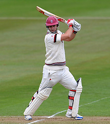 Somerset's Jim Allenby drives the ball. - Photo mandatory by-line: Harry Trump/JMP - Mobile: 07966 386802 - 04/04/15 - SPORT - CRICKET - Pre Season - Day 3 - Somerset v Durham MCCU - Taunton Vale, Somerset, England.