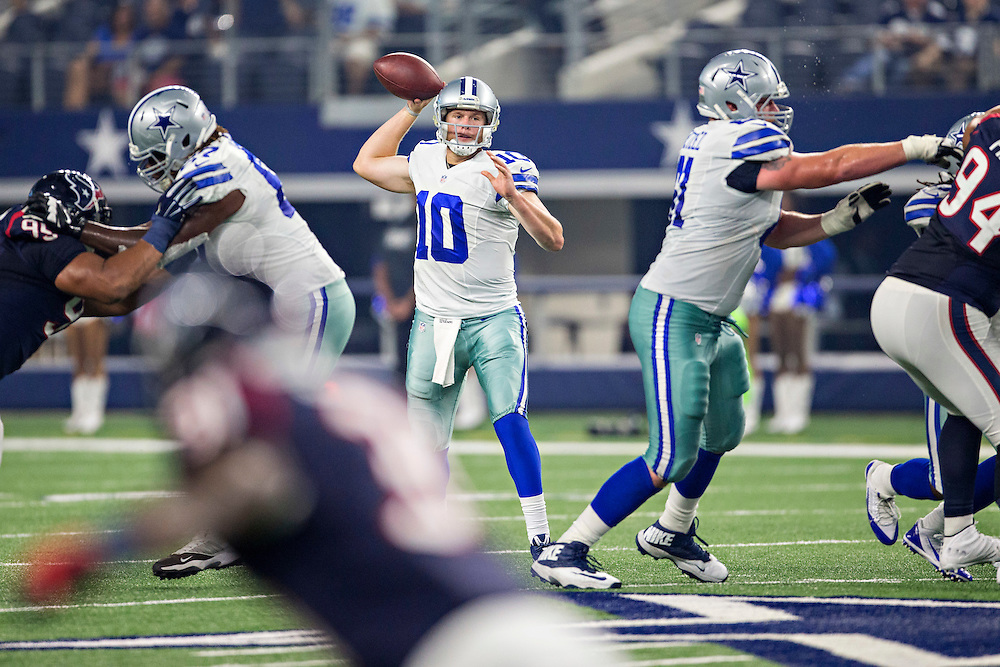 ARLINGTON, TX - SEPTEMBER 3:  Dustin Vaughan #10 of the Dallas Cowboys throws a pass during a preseason game against the Houston Texans at AT&T Stadium on September 3, 2015 in Arlington, Texas.  The Cowboys defeated the Texans 21-14.  (Photo by Wesley Hitt/Getty Images) *** Local Caption *** Dustin Vaughan