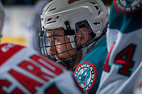 KELOWNA, CANADA - DECEMBER 27: Liam Kindree #26 of the Kelowna Rockets stands on the bench against the Kamloops Blazers on December 27, 2016 at Prospera Place in Kelowna, British Columbia, Canada.  (Photo by Marissa Baecker/Shoot the Breeze)  *** Local Caption ***
