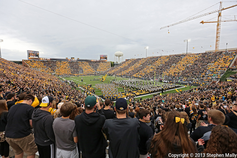 October 6 2013: The Iowa Hawkeyes take the field before the start of the NCAA football game between the Michigan State Spartans and the Iowa Hawkeyes at Kinnick Stadium in Iowa City, Iowa on October 6, 2013.