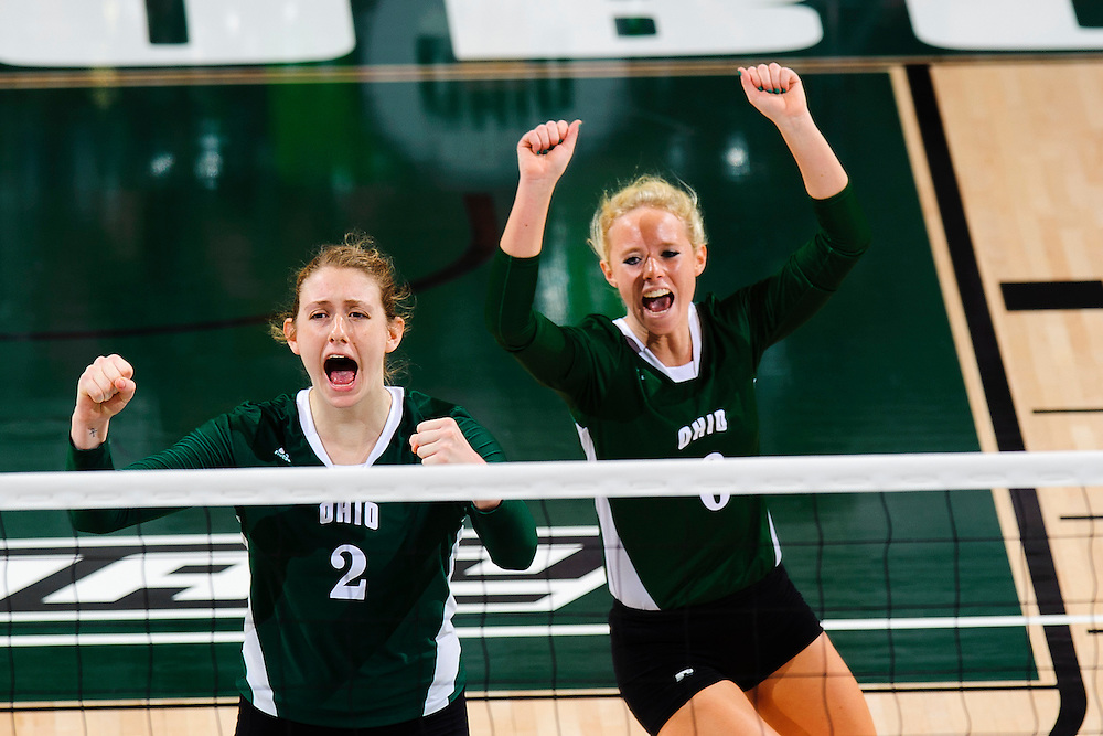 Ohio outside hitter #2 Chelsea Bilger, Ohio defensive specialist #6 Kelly Colyar