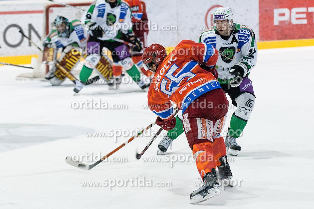 Robert Sabolic (HK Acroni Jesenice, #55) during ice-hockey match between HK Acroni Jesenice and HDD Tilia Olimpija in fourth game of Final at Slovenian National League, on April 8, 2011 at Dvorana Podmezaklja, Jesenice, Slovenia. (Photo By Matic Klansek Velej / Sportida.com)