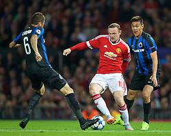 MANCHESTER, ENGLAND - Tuesday, August 18, 2015: Manchester United's captain Wayne Rooney in action against Club Brugge during the UEFA Champions League Play-Off Round 1st Leg match at Old Trafford. (Pic by David Rawcliffe/Propaganda)
