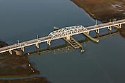 Aerial view of the Sullivan's Island swing bridge connecting Sullivan's Island to Mount Pleasant, SC.