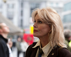 © Licensed to London News Pictures. 22/01/2012. LONDON, UK. Actress Joanna Lumley arrives at the Theatre Royal, Haymarket to watch the matinee performance of 'Charlie F'. A play based on the real life experiences of injured servicemen and women. The play performed by members of the Bravo 22 company was the idea of  the Theatre Royal Haymarket Masterclass Trust and the Royal British Legion.  Photo credit: Alison Baskerville/LNP
