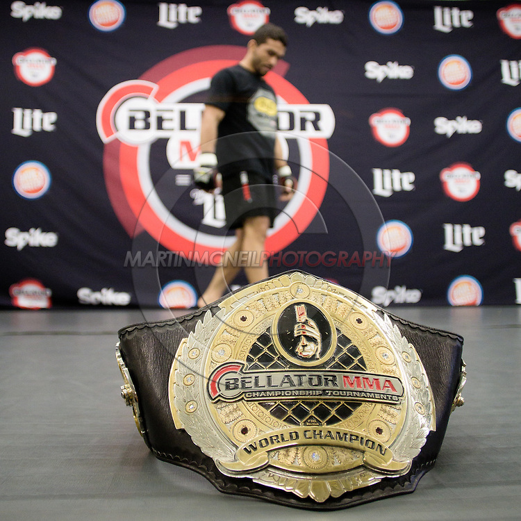 """ST. LOUIS, MO, JUNE 17, 2015: Patricio """"Pitbull"""" Freire's featherweight title belt is pictured on the mats during his open work-out session in advance of  Bellator 138 in St. Louis, Missouri © Sara Levin"""