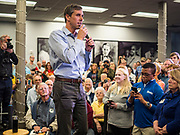 20 MAY 2019 - DAVENPORT, IOWA: BETO O'ROURKE, a Texas Democrat, talks to Democratic voters during a town hall style campaign appearance in Davenport. About 200 people came to the event in the River Music Experience, a downtown venue. O'Rourke, running to be the 2020 Democratic nominee for the US Presidency, has made climate change a central part of his campaign. He held a town hall in Davenport Monday. Iowa traditionally hosts the the first election event of the presidential election cycle. The Iowa Caucuses will be on Feb. 3, 2020.                      PHOTO BY JACK KURTZ