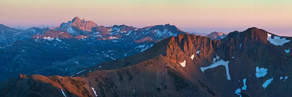 Sunset light on Mountain Peaks of the High Sierra as seen from Leavitt Pass, California