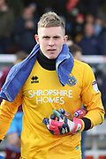 Shrewsbury Town goalkeeper Dean Henderson (1)  during the EFL Sky Bet League 1 match between Scunthorpe United and Shrewsbury Town at Glanford Park, Scunthorpe, England on 17 March 2018. Picture by Mick Atkins.