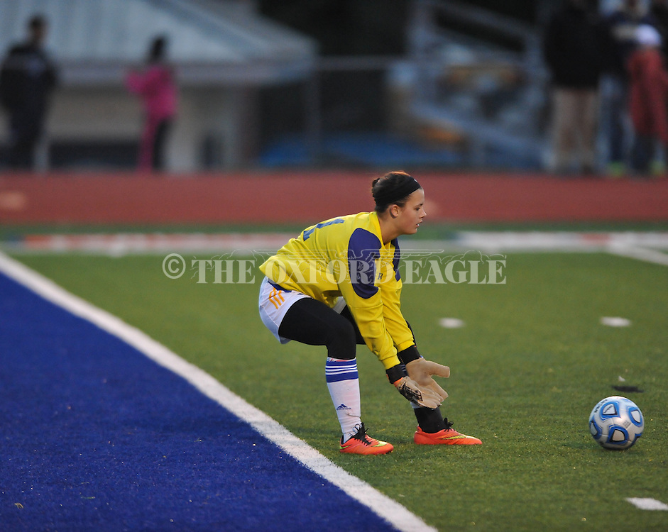 Oxford High goalkeeper Bailey O'Connor against Pearl in girls high school soccer in Oxford, Miss. on Wednesday, November 26, 2014. Oxford won 3-0.