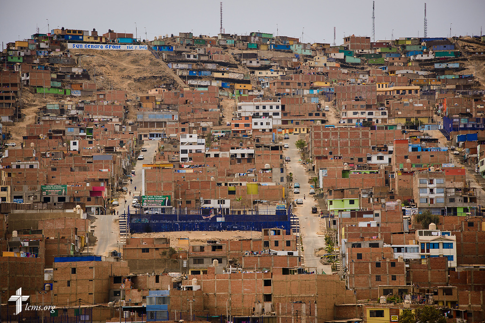 A cerro of homes on Monday, Nov. 6, 2017, in a region of Lima, Peru.  LCMS Communications/Erik M. Lunsford