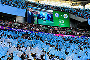 Manchester City fans wave their flags before the Carabao Cup Final match between Chelsea and Manchester City at Wembley Stadium, London, England on 24 February 2019.