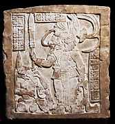 The sumptuously dressed kneeling woman pulling the rope through her tongue is Lady Balam-IX, another one of Bird Jaguar's wives.  Opposite her sits Bird Jaguar, adorned with ornate earplugs, nosepiece, bar pectoral, jade cylinder cuffs and a shield tied to his back.