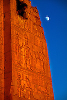 Greco-Roman Temple of Haruris at Kom Ombo (with the moon behind) on the Nile River, Egypt